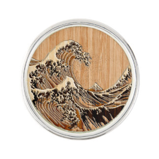 The Great Hokusai Wave Bamboo Wood Style decor Pin