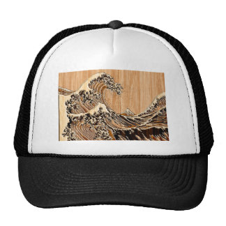 The Great Hokusai Wave Bamboo Wood Style decor Trucker Hat