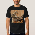 The Great Hokusai Wave Bamboo Wood Style decor Tshirt