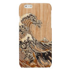 The Great Hokusai Wave Bamboo Wood Style Glossy iPhone 6 Case