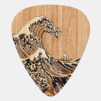 The Great Hokusai Wave Bamboo Wood Style Guitar Pick by CaptainShoppe at Zazzle