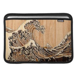 The Great Hokusai Wave Bamboo Wood Style MacBook Sleeve