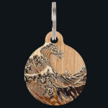 """The Great Hokusai Wave Bamboo Wood Style Pet ID Tag<br><div class=""""desc"""">A custom design inspired by the Great Wave of Kanagawa painted by ancient Japanese artist Hokusai. It is rendered as to look like a Bamboo Wood inlay background. Sounds good, a great gift idea. Use the &quot;Ask this Designer&quot; link to contact us with your special design requests or for some...</div>"""