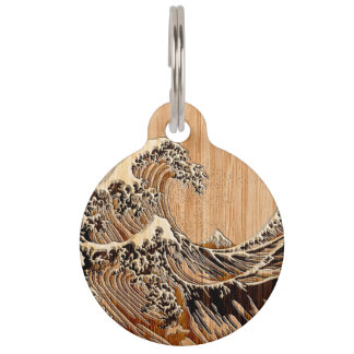 The Great Hokusai Wave Bamboo Wood Style Pet ID Tag