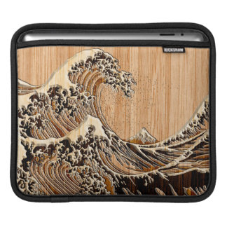 The Great Hokusai Wave Bamboo Wood Style Sleeve For iPads