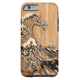 The Great Hokusai Wave Bamboo Wood Style Tough iPhone 6 Case