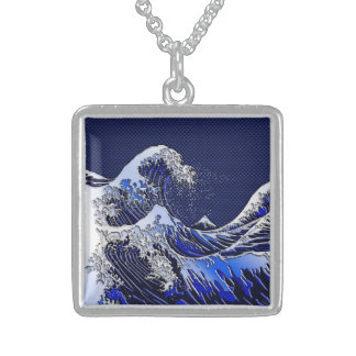 The Great Hokusai Wave Blue Styles Sterling Silver Necklace