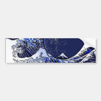 The Great Hokusai Wave Carbon Fiber Style Bumper Sticker