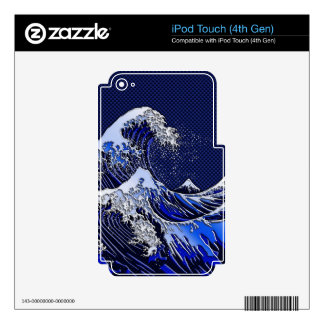 The Great Hokusai Wave Carbon Fiber Style Decal For iPod Touch 4G
