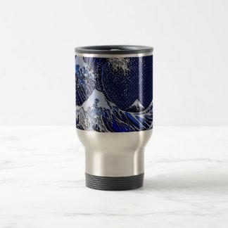 The Great Hokusai Wave Carbon Fiber Style Travel Mug