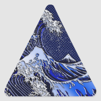 The Great Hokusai Wave Carbon Fiber Style Triangle Sticker