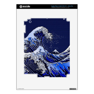 The Great Hokusai Wave chrome carbon blue styles Decal For iPad 3