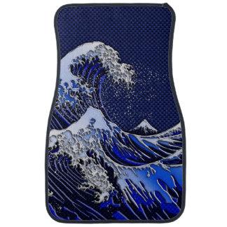 The Great Hokusai Wave chrome carbon fiber Decor Car Floor Mat
