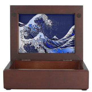 The Great Hokusai Wave chrome carbon fiber Decor Memory Box