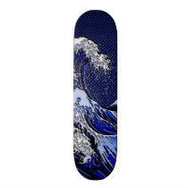 The Great Hokusai Wave chrome carbon fiber Decor Skateboard Deck
