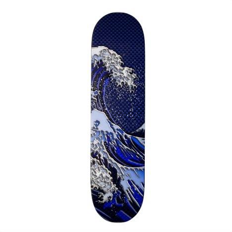 The Great Hokusai Wave chrome carbon fiber Decor Skateboard Deck