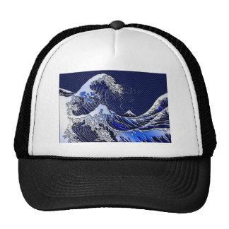 The Great Hokusai Wave chrome carbon fiber Decor Trucker Hat