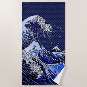 Beach Themed The Great Hokusai Wave chrome carbon fiber styles Beach Towel