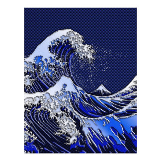 The Great Hokusai Wave chrome carbon fiber styles Flyer