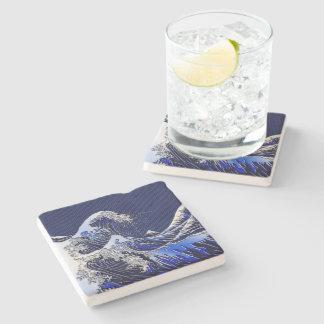 The Great Hokusai Wave chrome carbon fiber styles Stone Beverage Coaster