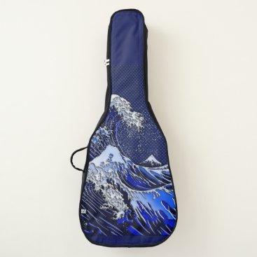 Beach Themed The Great Hokusai Wave chrome carbon fiber styles Guitar Case