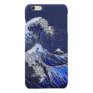 The Great Hokusai Wave chrome carbon fiber styles Glossy iPhone 6 Plus Case