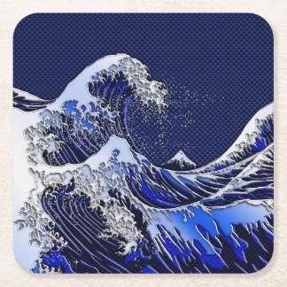 The Great Hokusai Wave chrome carbon fiber styles Square Paper Coaster