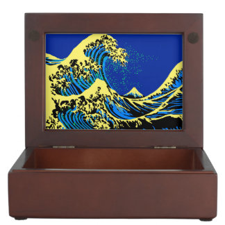 The Great Hokusai Wave in Blue Pop Art Style Memory Box