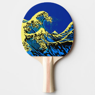 The Great Hokusai Wave in Blue Pop Art Style Ping-Pong Paddle
