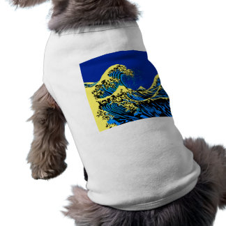 The Great Hokusai Wave in Blue Pop Art Style Shirt