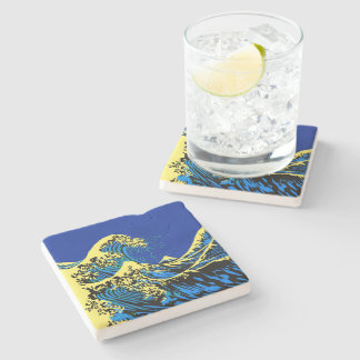 The Great Hokusai Wave in Blue Pop Art Style Stone Coaster