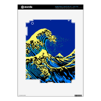 The Great Hokusai Wave in Blue Yellow Pop Style Decal For iPad 3
