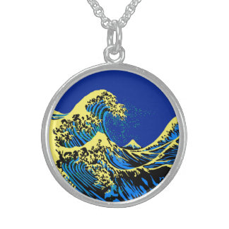 The Great Hokusai Wave in Blue Yellow Pop Style Sterling Silver Necklace