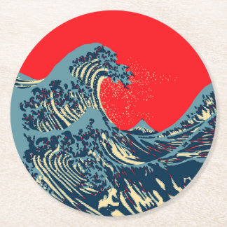 The Great Hokusai Wave in Colorful Style Round Paper Coaster