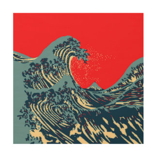 The Great Hokusai Wave in Colorful Style Wood Wall Decor