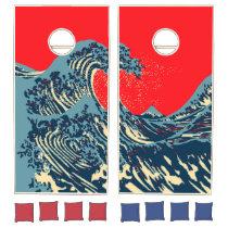 The Great Hokusai Wave in Hope Art Style Cornhole Set