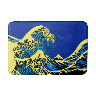 The Great Hokusai Wave in Pop Art Style Bathroom Mat