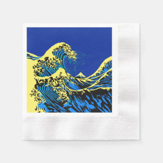 The Great Hokusai Wave in Pop Blue Napkin