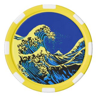 The Great Hokusai Wave in Vibrant Pop Style Set Of Poker Chips