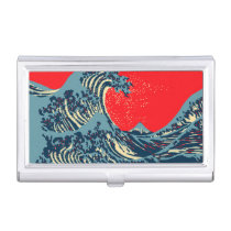 The Great Hokusai Wave in Vibrant Style Business Card Holder