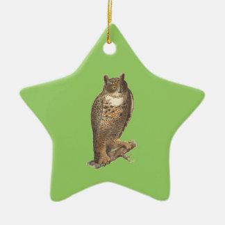 The Great Horned Owl (Bubo virginianus) Ceramic Ornament