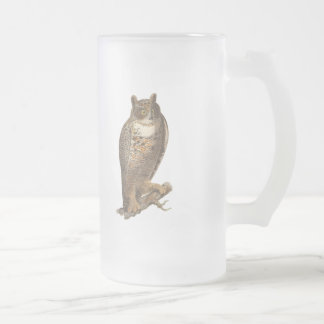 The Great Horned Owl (Bubo virginianus) Frosted Glass Beer Mug