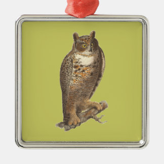 The Great Horned Owl (Bubo virginianus) Metal Ornament