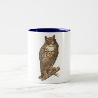 The Great Horned Owl (Bubo virginianus) Two-Tone Coffee Mug