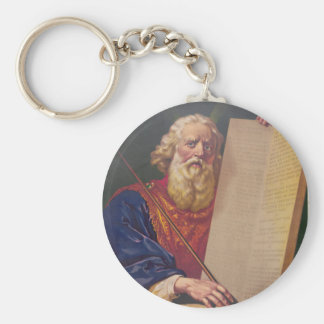 The Great Lawgiver Moses with the Ten Commandments Basic Round Button Keychain
