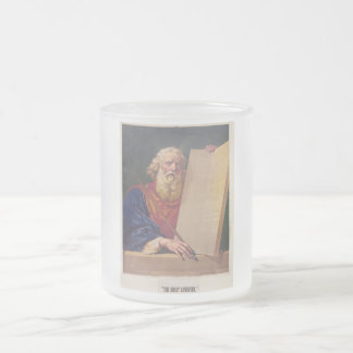 The Great Lawgiver Moses with the Ten Commandments Frosted Glass Coffee Mug