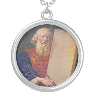 The Great Lawgiver Moses with the Ten Commandments Round Pendant Necklace