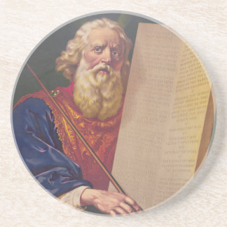 The Great Lawgiver Moses with the Ten Commandments Sandstone Coaster