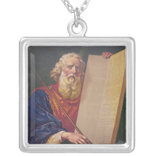 The Great Lawgiver Moses with the Ten Commandments Square Pendant Necklace