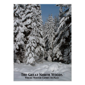 The Great North Woods; Where winter comes to play Poster